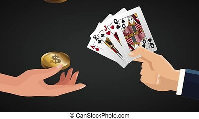 Hands with money and casino cards HD animation
