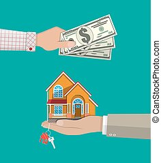 Hands with money and house. Real estate