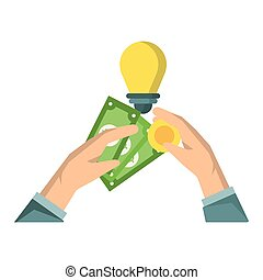 Hands with money cash bulb light and coin isolated