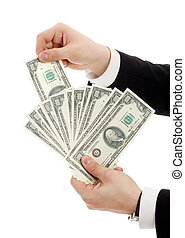 Hands with money. Isolated over white.