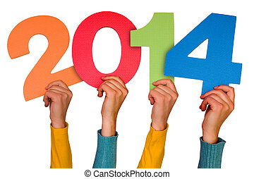 Hands with numbers shows year 2014. Isolated on white...