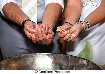 hands with oil