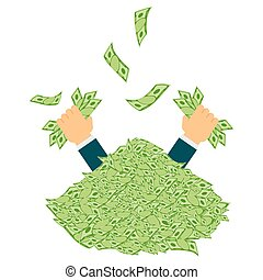 hands with paper currency - Hands catching money. Pile of...