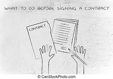 hands with pen and signed contract, what to do before signing