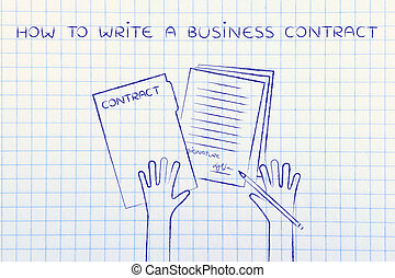 hands with pen and signed docs, how to write a business contract