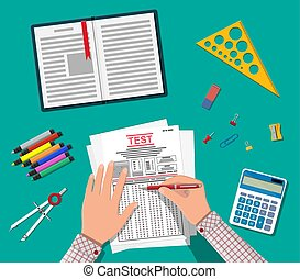 Hands with pen fill survey or exam forms. Answered quiz...