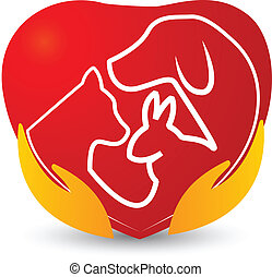 Hands with pets in a heart logo - Cat, dog and rabbit in a ...