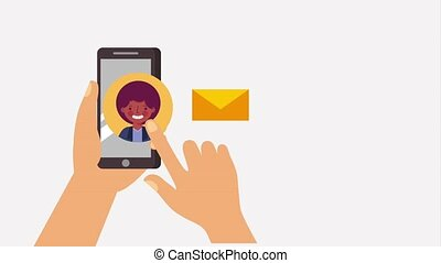 hands with phone sending message people animation