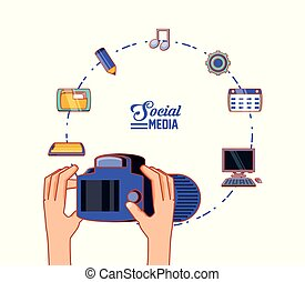 hands with photographic camera and social media set icons
