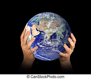 Hands with planet earth