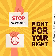 hands with protests placards, fight for your right