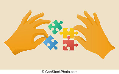 collaboration - Hands with puzzle pieces, vector ...