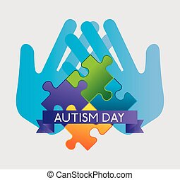 hands with puzzles and ribbon to autism day vector...