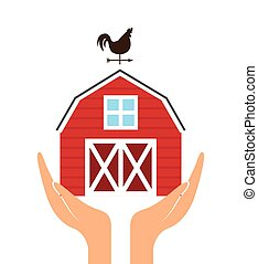hands with red barn icon