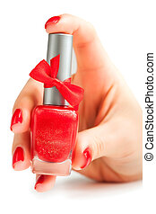 Hands with red nail polish isolated