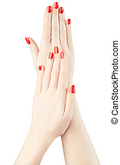 Hands with red nail polish