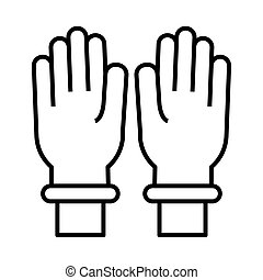 hands with rubber gloves line style vector illustration design