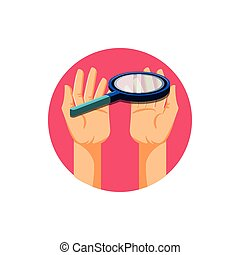 hands with search magnifying glass icon
