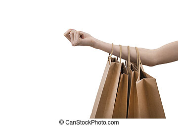 hands with shopping bags isolated in white