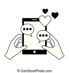 hands with smartphone chatting love hearts romance