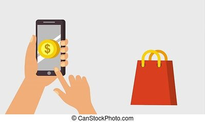 hands with smartphone dollar buy online bag falling
