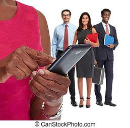 Hands with smartphone.