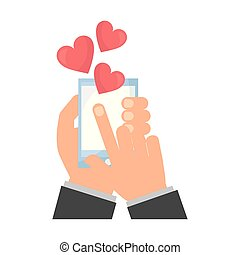 hands with smartphone love hearts