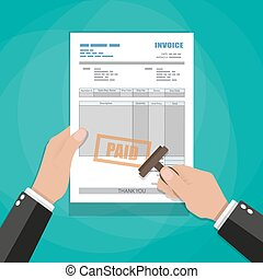 hands with stamp. paper invoice form