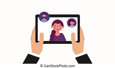 hands with tablet viral content woman and people group