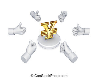 Hands with thumbs up around symbol of yen.