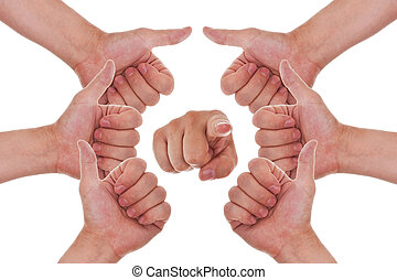many hands with thumbs up making a circle and a finger point to you