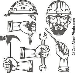 Hands with tools