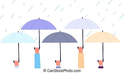 Hands with umbrellas. Rain storm, flood in city. Business safety or insurance metaphor. Life protection, autumn rainy weather utter vector banner. Illustration of umbrella under rain