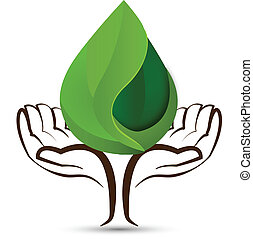 Hands with water drops leaf logo