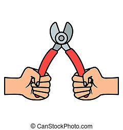 hands with wire strippers tool vector illustration design