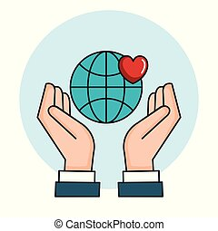 hands with world love heart symbol peace