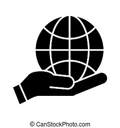 hands with world planet earth icon