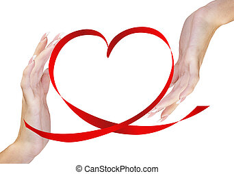 Valentines Day - Hands Woman with Red Silk Heart.Love...