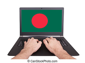 Hands working on laptop, Bangladesh
