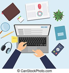 Hands working on laptop. Businessman at work, top view office desk with computer, stationery phone vector illustration