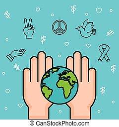 hands world earth together symbol peace