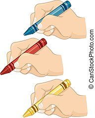 Hands Young Crayons