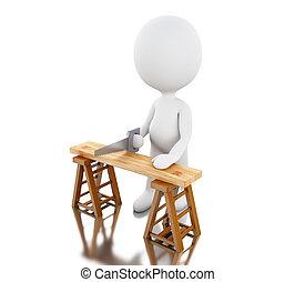 handsaw., bois, découpage, charpentier, 3d
