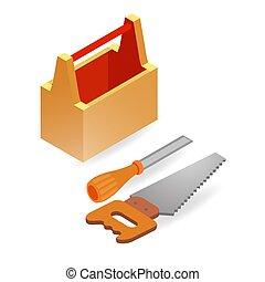 Handsaw, chisel, box. Isometric construction tools. -...