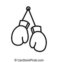handschoenen, boxing, ontwerp, illustratie