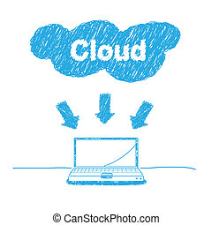 handschrift, concept, schets, wolk, gegevensverwerking
