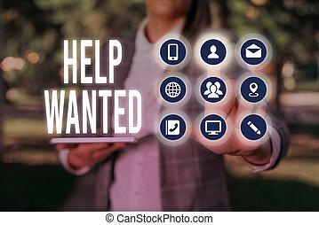 handschrift, plaatsen, helpen, werkgever, advertentie, betekenis, tekst, schrijvende , vinden, nieuw, wanted., employee., papier, concept