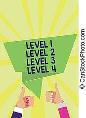 handschrift, tekst, niveau, 1, niveau, 2, niveau, 3, niveau, 4., concept, betekenis, stappen, niveau's, van, een, proces, de stroom van het werk, bemannen vrouw, handen, beduimelt omhoog, goedkeuring, tekstballonetje, origami, stralen, achtergrond.