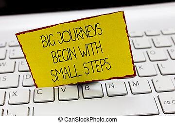 handschrift, tekst, schrijvende , groot, reizen, beginnen, met, kleine, steps., concept, betekenis, aanslaan, een, nieuwe zaken, verschiet