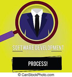 handschrift, tekst, software, ontwikkeling, process., concept, betekenis, proces, van, ontwikkelen, een, software, product, vergrootglas, foto, vergroten, inspecteren, een, tuxedo, en, etiket, label, below.
